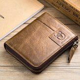Bullcaptain Leather Wallet Titular do cartão Vintage Zíper