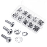 Suleve ™ M2SSH1 600 Pcs M2 304 Stainless Steel Hex Socket CapButtonFlat Kepala Sekrup Washer Nut Kit