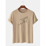 Paper Plane of Liberty Print Crew Neck Short Sleeve T-Shirts