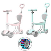 Height Adjustable 4-Wheels Kids Kick Scooter Kickboard With Seat For Ages 3~6 Child Ride On Toy Toddler Baby Walker