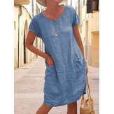 Women Solid Color Casual O-Neck Short Sleeve Mini Dress With Pockets