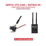 Eachine ROTG02 + 7081U 800TVL AIO Câmera FPV Combo 5.8G 48CH 25mW Transmissor Câmera Receptor Conjunto Preto para Android Phone Não original
