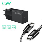 BlitzWolf® BW-S17 65-W-USB-C-Ladegerät PD3.0 Power Delivery-Ladegerät mit EU-Steckeradapter Mit Baseus 100-W-USB-C-zu-USB-C-PD3.0-Kabel für Smartphone-Tablet-Laptop für iPhone 11 SE 2020 Für iPad Pro 2020 MacBook Air 2020 Huawei P40