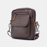 Bullcaptain Men Genuine Leather Waterproof Multifunction Multi-Layers Crossbody Bag Shoulder Bag