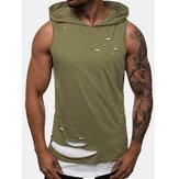 Camisetas sin mangas sin mangas del agujero sólido del nuevo deporte de la moda para hombre
