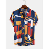 Mens Fashion Colorful Camicie casual larghe con stampa a colori a contrasto