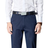 Hombre verano cremallera Fly Mid Rise Business Pocket Pantalones