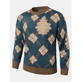 Heren Christmas Argyle-patroon ronde hals Ribgebreide losse truien