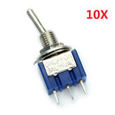 3 broches basculer l'interrupteur à bascule on / off / sur 10pcs SPDT MTS-103 ac 125v 6A wendao
