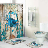 Crab Printing Bathroom Shower Curtain Toilet Cover Mat Non-Slip Rug Set