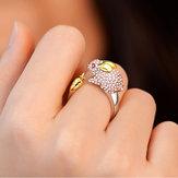 レディースラブリー指輪 中国の十二支動物の金リング ラインストーンシルバー 調節可能なリング