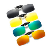 Men Women Polarized Clip On Sunglasses For Driving Cycling Night Vision Yellow Square Sun Glasses With Clips Unisex