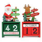NoelYaratıcıHediyelikMiniAhşapTakvim Ana Süs Masası Masaüstü Dekorı Elk Santa Claus