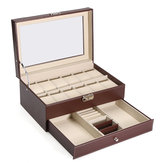 Wood Leather Display Case Watches Storage Box Plastic for Jewelry Watch Accessories