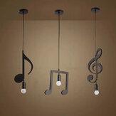 AC85-265V Music Symbol Pendant Lights E27 Creative Black Led Pendant Lamp for Bar bedroom bookroom Pendant Lighting Without Bulb