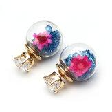 De moda cristal colorido bola de cristal flor pendientes redondos