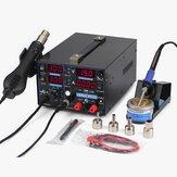 YIHUA 853D 110V/220V 1A USB Rework Station con saldatura Station DC Power Supply e aria calda per la saldatura