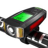 Negro BIKIGHT Luz de bicicleta COB 3 en 1 350LM + Bocina USB Lámpara + Medidor de velocidad LCD Pantalla 5 modos Impermeable Faro de bicicleta con bocina
