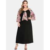 Plus Size Women Floral Print Maxi Dress