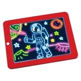 3DドローイングボードLEDライティングタブレットボードプラスチッククリエイティブアート用ペンブラシ子供用クリップボードギフトセット-赤