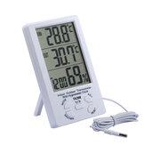 Thermomètre à grand écran Hygromètre Affichage numérique extérieur / intérieur Affichage à double température Thermomètre