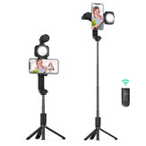 BlitzWolf® BW-BS15 bluetooth Tripod Selfie Stick with Fill Light with Condensor Microphone Wireless Selfie Stick Selfie Lights for Live Vlog Video Record