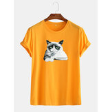 Mens Breathable Cat Graphic License Cotton Round Neck Casual T-Shirts