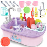 Simulation Kitchen Dishwasher Playing Sink Dishes Pretend Play Set Educational Toy for Kids Gift