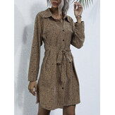 Women Leopard Printed Lapel Collar Lace-Up Button Casual Long Sleeve Dress