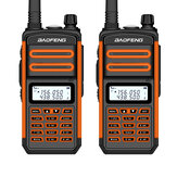 2 uds BAOFENG BF-S5plus 18W Impermeable UV Dual Banda Portátil Radio Walkie Talkie Linterna Senderismo Interphone Naranja US Enchufe
