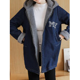 Casual dames losse fleece rits denim hooded jassen