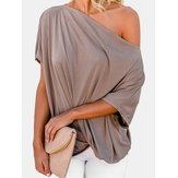 Dames off-shoulder geplooide effen kleur losse shirts