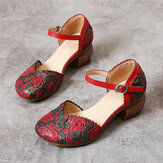 SOCOFY Retro Leather Embossed Floral Buckle Ankle Strap Block Heel D'orsay Pumps