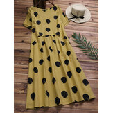 Cotton Casual Polka Dot Short Sleeves Dress