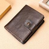Masculino Vintage Couro Genuíno RFID Carteira de Bloqueio Zipper Coin Bolsa