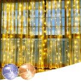 3 M * 3 M 304 LED Chaîne Fée Lumière Blanc Chaud Blanc Fenêtre Rideau Parti De Mariage Décor UE Plug AC220V