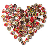 100 PCS Round Pattern Wooden Button Mixed 2 Hole Natural Sewing Children Handmade Clothes Buttons