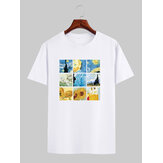 Mens Designer Van Gogh Famous Painting License Short Sleeve White T-Shirts