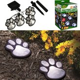 Solar Powered Pure White 4 Dog Animal Paw Print Outdoor LED Fairy String Lights  for Garden