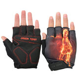 GROEN TEAM MTB Mountain Motocross Fietsen Glove Fiets Fiets Sport Antiskid Fire Print Half Finger Gloves