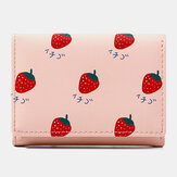Mulheres 7 Slots de cartão Carteira com três dobras impressa em frutas