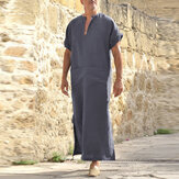INCERUN Vintage Loose V Neck Splits Long Dress Tops Kaftan