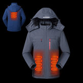 TENGOO Men Electric Jacket Back Abdomen 3 Heating Zone 3 Modes USB Charging Reflective Thermal Clothes Winter Smart Down Jacket
