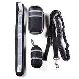 Nylon Pet Running Cachorro Strip Elastic Leash Zipper Bolsa Reflective Waist Cinto Holder Set