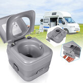 10L/20L Advanced Full Size Vehicel Portable Toilet with Push Button Flush, Tan Camping Travel Piston Pump Commode