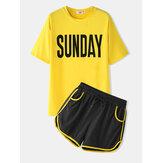 Kadın Spor Loungewear Mektuplar Baskı Kısa Kollu Rahat Pijama