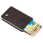 Genuine Leather Credit Card Holder Automatic Spring Card Type Aluminum Alloy Wallet Mini Business Credit Card Case