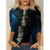 Plus Size Women Abstract Galaxy Printing Round Neck Casual Long Sleeve Blouses