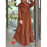 Women Vintage Solid Color Ruffle Trims Drawstring Waist Puff Sleeve Casual Maxi Dress