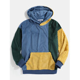 Herren Vintage Cord Color Block Stitching Kangaroo Pocket Hoodies